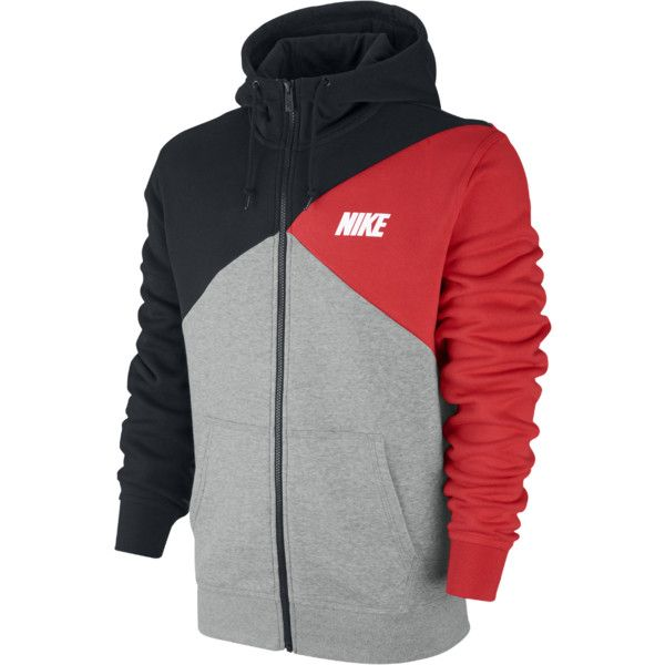 Nike Club Color-Block Full-Zip Men's Hoodie (210 BRL) ❤ liked on Polyvore featuring men's fashion, men's clothing, men's hoodies, men, aaron evans, mens full zip hoodies, mens sherpa lined hoodies, mens fleece lined hoodies, mens zip up hoodie and mens fleece lined hoodie