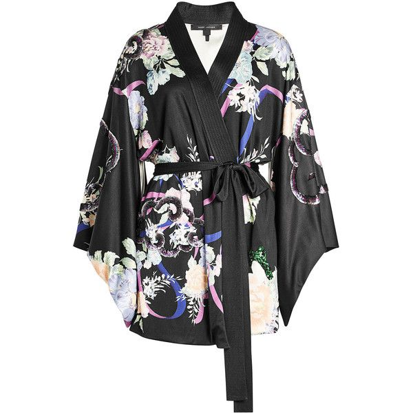 Marc Jacobs Silk Kimono Dress ($3,145) ❤ liked on Polyvore featuring dresses, multicolored, multi color mini dress, multi print dress, multi colored dress, kimono dresses and structured dress
