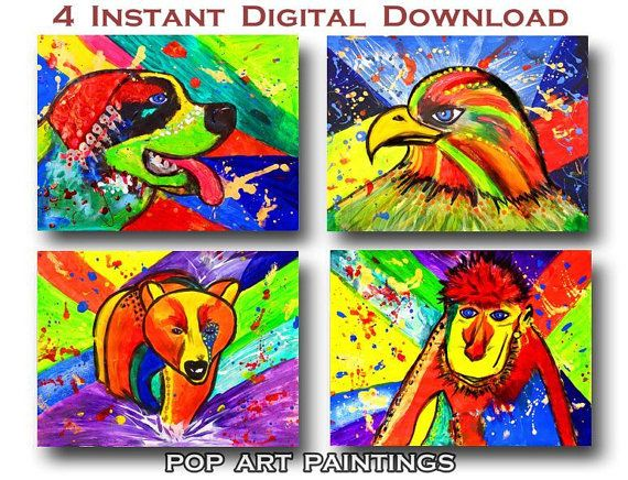 #PopArt #Paintings #InstantDownload #DigitalPrints   #BearPainting #EaglePainting #St.BernardDog #MonkeyPainting #SmallPaintings #PrintableArt #Kidsroomart #HomeDecor by #JuliaApostolova
