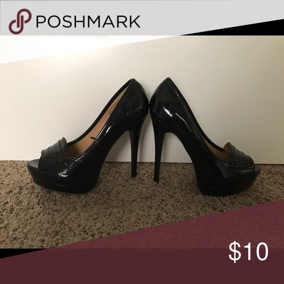 Charlotte Russe black peep toe pumps Charlotte Russe black peep toe pumps collecting dust in my closet. Worn once for a fashion show for about an hour. Hardly any wear what so ever. Charlotte Russe Shoes Heels