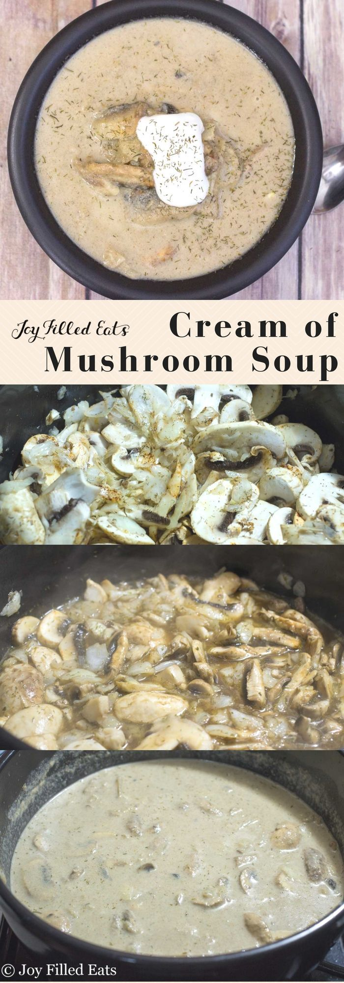 Cream of Mushroom Soup - Low Carb, Grain & Gluten Free, THM S - This mushroom soup is rich and creamy with a hint of dill and the tang of Greek yogurt. It is the perfect first course to a nice dinner or is a great entree all on its own.   via @joyfilledeats