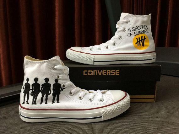 5 Seconds of Summer Converse Sneakers Hand Painted, 100% hand painted- 100% New Shoes About Cconverse Size: (Unisex Adults) Please choose size by checking our size conversion chart carefully. If you have a different design idea, please contact me and send me the pictures, i will give you an offer according pa...