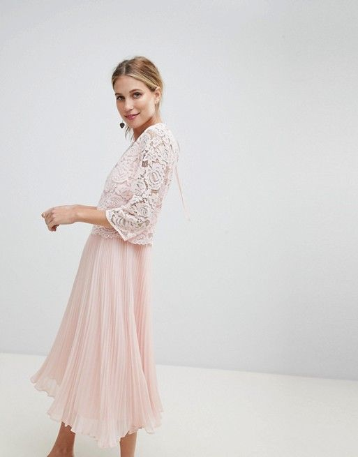 b3d6dcf046b3 Oasis Occasion Long Sleeve Lace Bodice Pleated Maxi Dress | Wedding ...