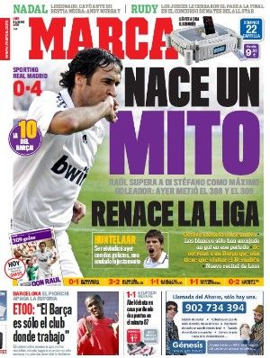Raúl supera a Di Stéfano como máximo goleador del Real Madrid