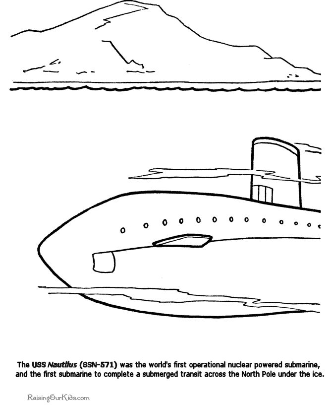 Military History Nautilus Nuclear Submarine Coloring Page For Kid