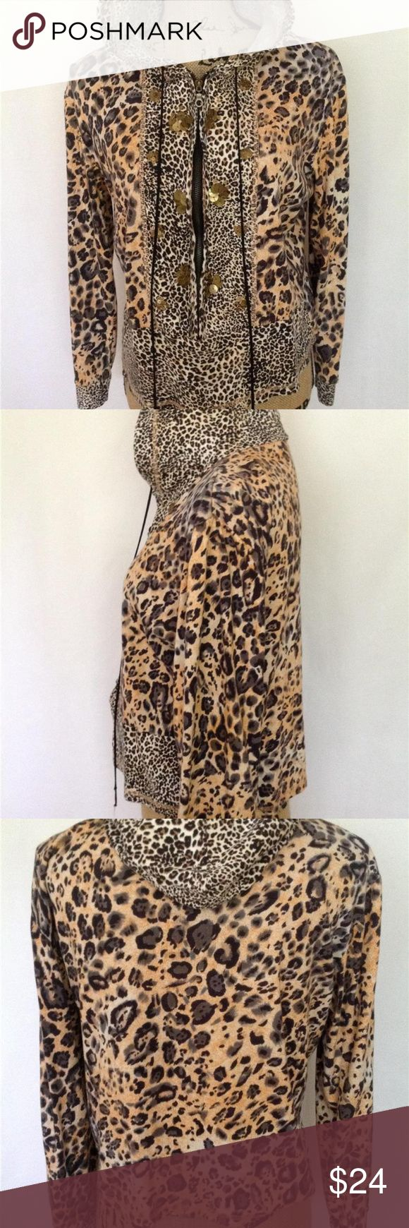 """Women's Jacket LOLA P Hooded Animal Print Jacket M Sexy leopard pattern, zips up the front with a hood, embellished with gold metal circles. Black, cream, taupe and orange.  Click images to enlarge   Measurements for this jacket are:  Length: 20 1/2""""  Width under the arms around: 44""""  Sleeve: 21""""  Hand wash and line dry Lola P Jackets & Coats"""