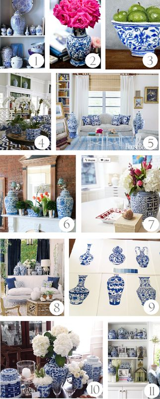 Decorating with blue and white (inspiration)    http://emilyaclark.com/2013/08/adding-blue-and-white-accessories/
