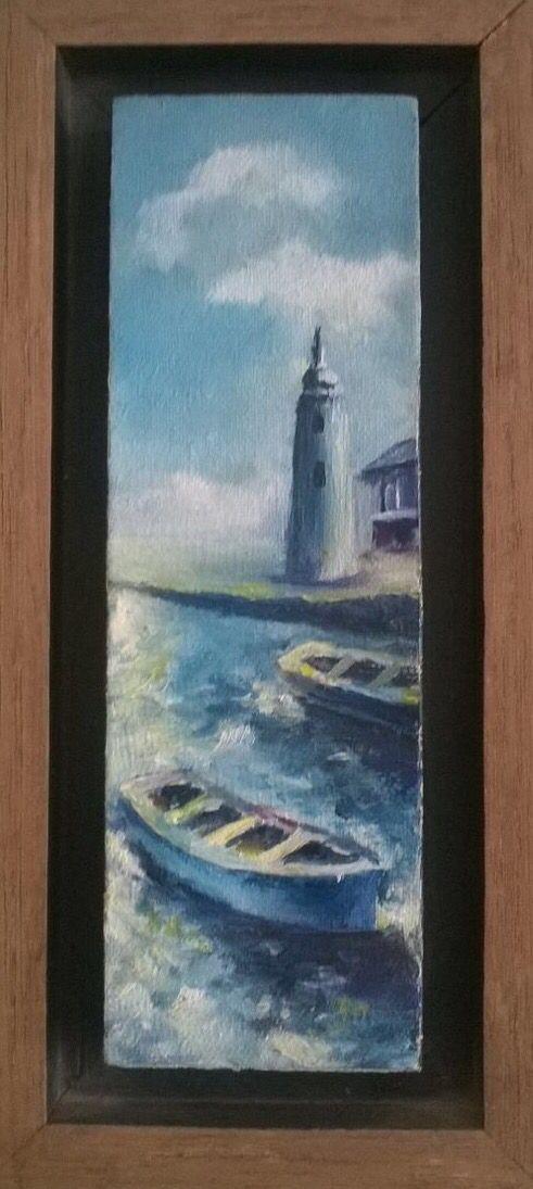 """Botes y Faro"" (Boats & Beacon). 2005. 5x16cm. Oil on canvas."