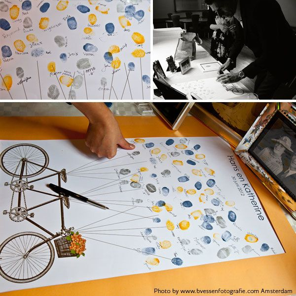 tandem bicycle fingerprint guest book - printable file.