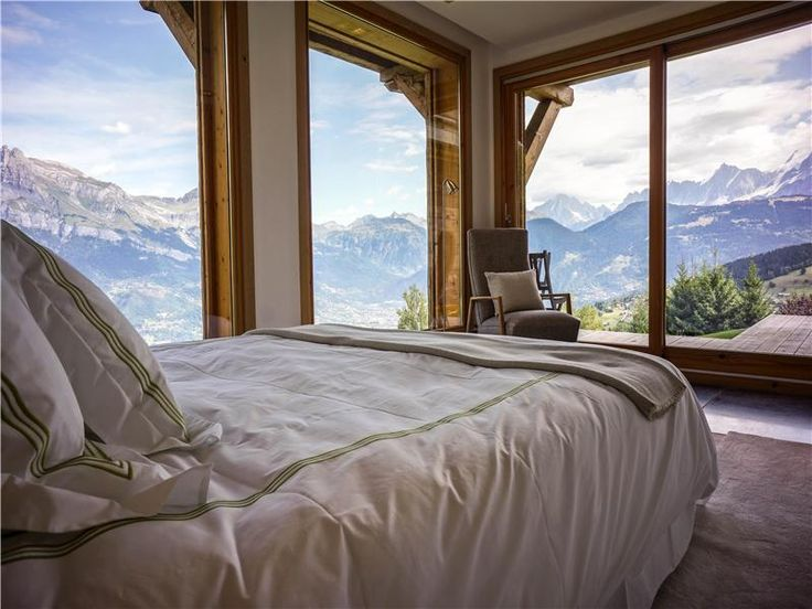 Bedroom with a view of the French Alps