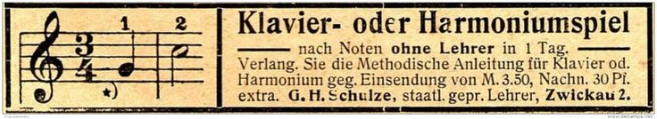 Original-Werbung/ Anzeige 1910 - KLAVIER - ODER HARMONIUM - SPIEL / SCHULZE - ZWICKAU - ca. 85 x 15 mm