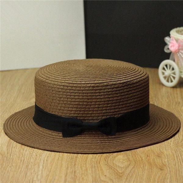 Women Ladies Fedora Hat Trilby Bowknot Straw Panama Summer Jazz Beach Sun Cap