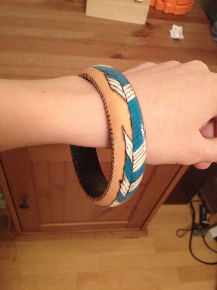 pirography bangle - indian feather