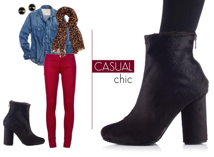 A pair of pony leather boots with high heels can adorn your casual chic attire @j