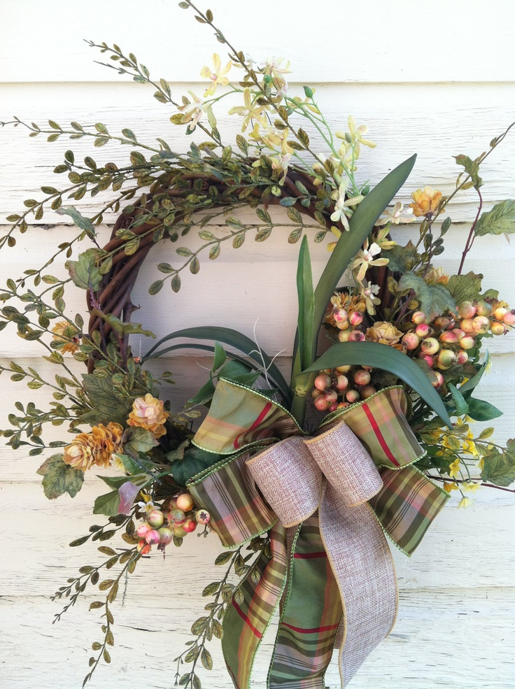 Country Wreath for Fall - Everyday Wreath with Fern & Berries. $49.00, via Etsy.