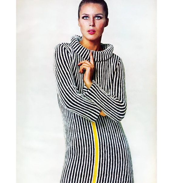Vintage Vogue Knitting Pattern 1960s Mod Mini Dress Graphic Racing St?