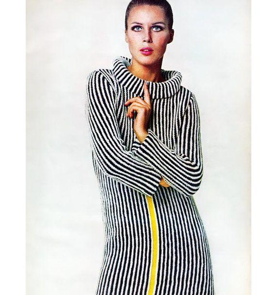 Vogue Vintage Knitting Patterns : Vintage Vogue Knitting Pattern 1960s Mod Mini Dress Graphic Racing St?