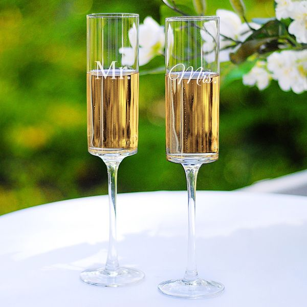Mr. & Mrs. Contemporary Champagne Flutes - Overstock™ Shopping - Big Discounts on Toasting Flutes