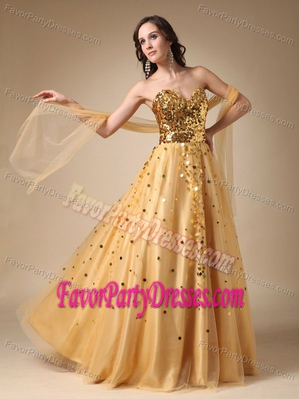 Upscale Gold A-line Sweetheart Sequined Tulle Lace-up Party Dress for Prom