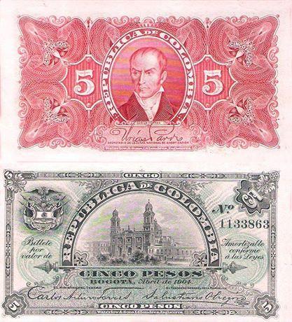 Billete de Colombia - (1901-1920) - 5 pesos 1904 // #banknote