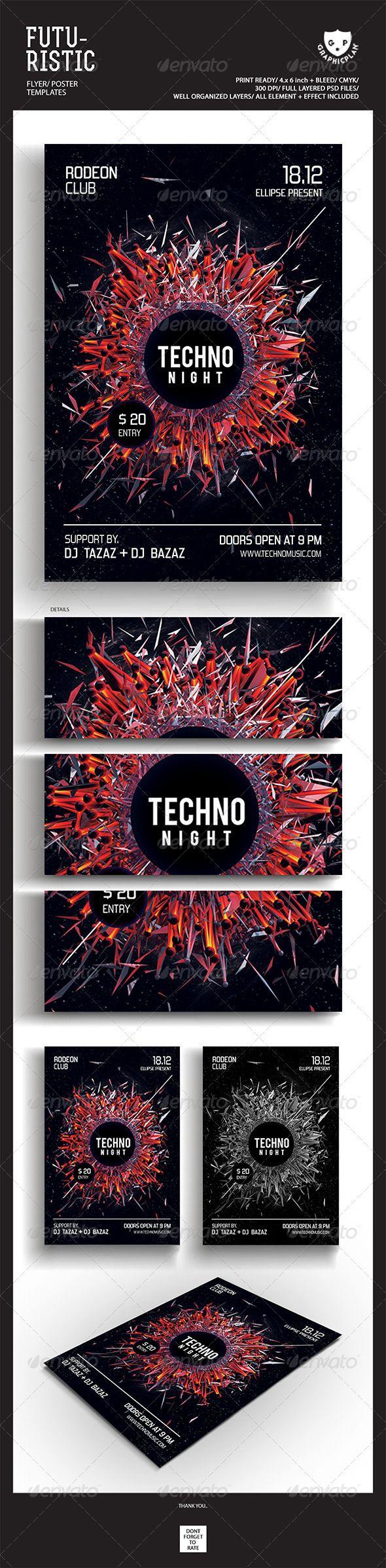 Techno Music Futuristic Flyer Templates #GraphicRiver Featured Flyers