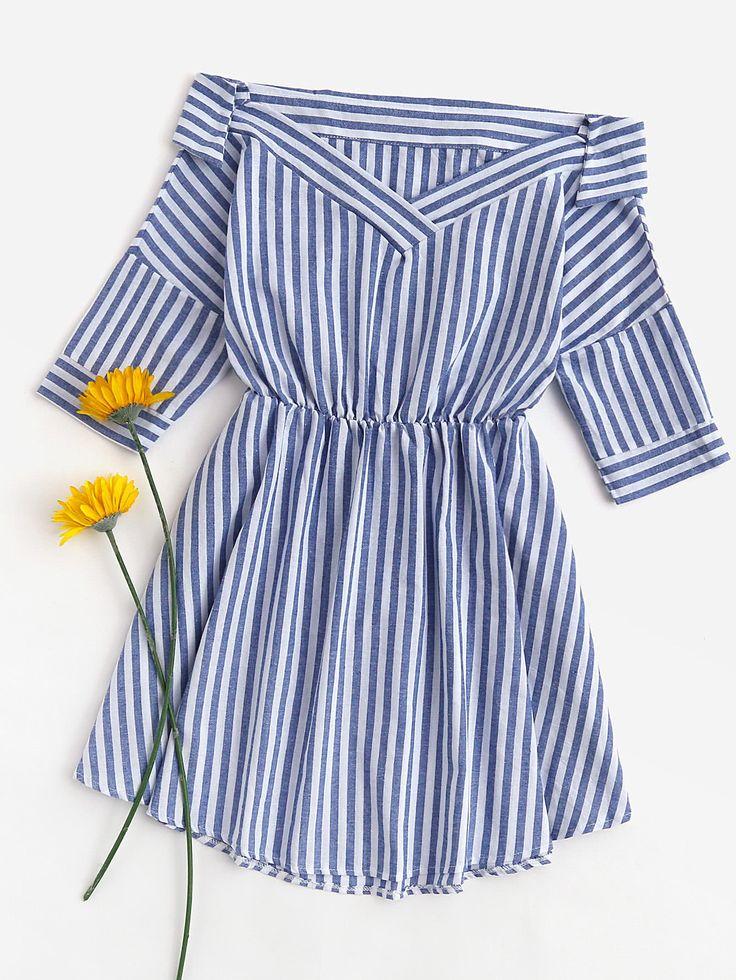 Foldover V Neckline Striped Dress