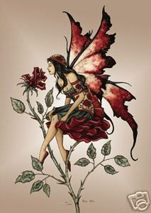 amy+brown+fairies | Amy Brown Rose Red Faery Fairy Print Postcard Fantasy 4x6 Garden Wings ...