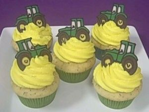 for Trevor's first birthday..of course they would not be yellow and green for John Deere, they would be red and white for Farmall :)