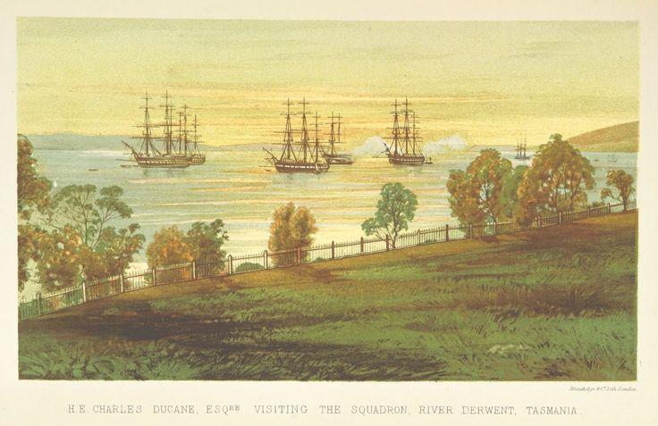 Colour Plate Print from 1871 of H. E. Charles Ducane, Esq. Visiting the Squadron, River Derwent, Tasmania