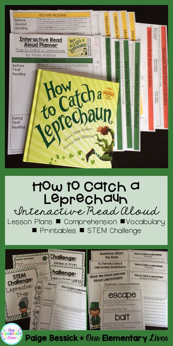 Interactive Read Aloud for How to Catch a Leprechaun by Adam Wallace. It includes lesson plans, in-depth comprehension, vocabulary, retelling worksheets a and STEM challenge.  This products makes interactive read Perfect for K-2.  This resource will make planning your IRA fast and easy. It even meets the common core and is just print and go and has a template and detailed directions for printing on sticky notes. Your kids are going to love this one!