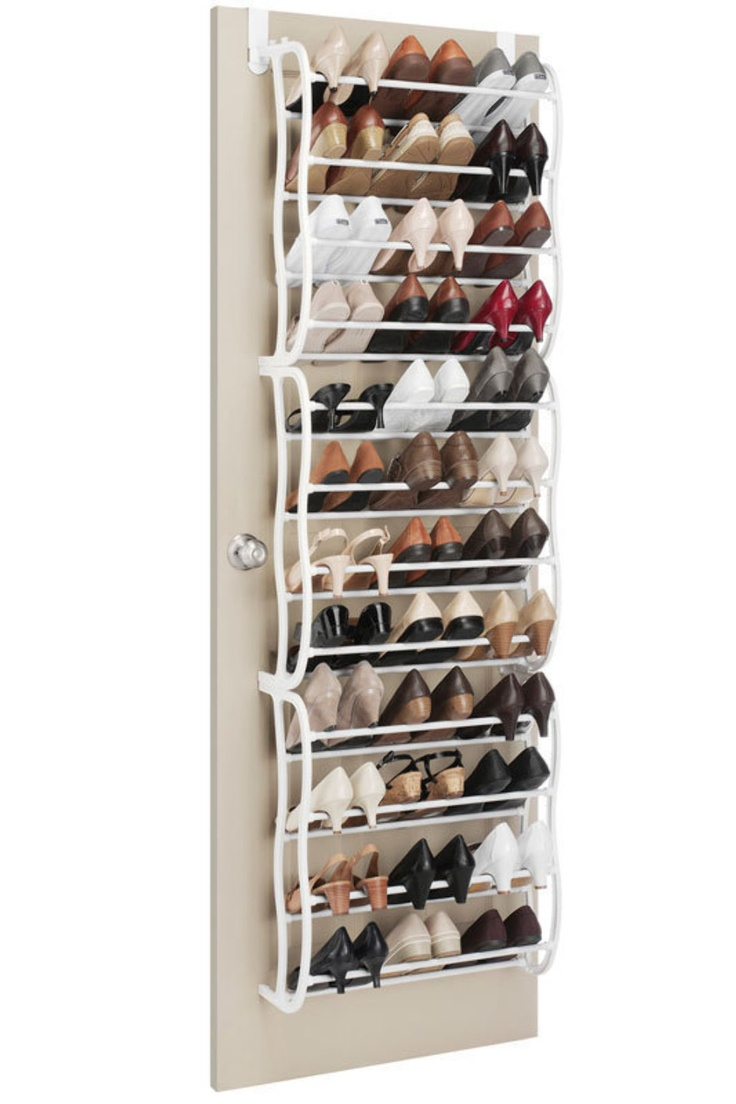 Over The Door Shoe Rack In White.