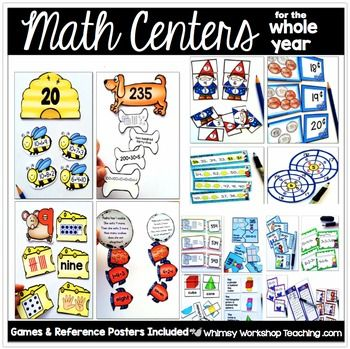 This set contains printable math centers for the whole year - over 925 pages organized into 10 units. This is one half of the Grade 1 Math for the Whole Year Program, for teachers who already have a math program but would like to supplement with more centers through the year.