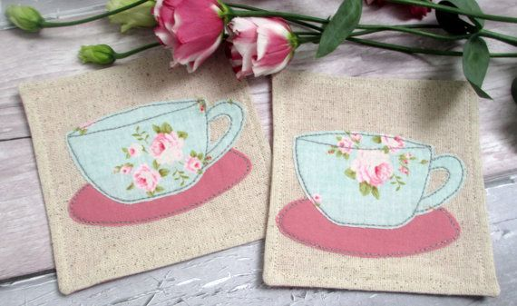 Floral Tea Cup Coasters - Pair of Drinks Coasters - Fabric Coasters for Cups - Appliqué Tea Cups - Set of 2 Beverage Coasters - Gift for Her