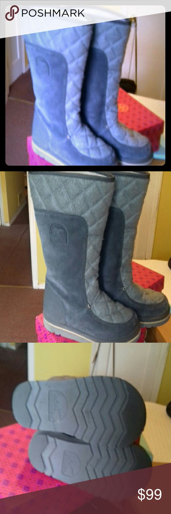 CAMPUS TELL SORREL BOOTS BEAUTIFUL SIZE 10  GRAY SORREL BOOTS.WORE THEM TWICE. SORREL Shoes Winter & Rain Boots