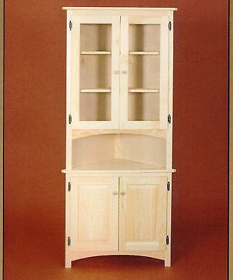 AMISH Unfinished Solid Pine ~ CORNER HUTCH China Cabinet Country Style 4 Door
