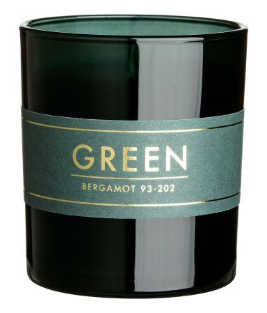 Doftljus i glasbehållare | Grön/Bergamot | H&M HOME | H&M SE