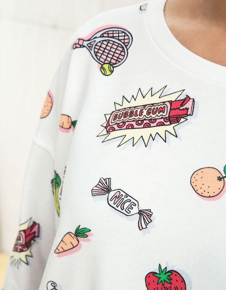 BSK all over print sweatshirt - Sweatshirts - Bershka Turkey