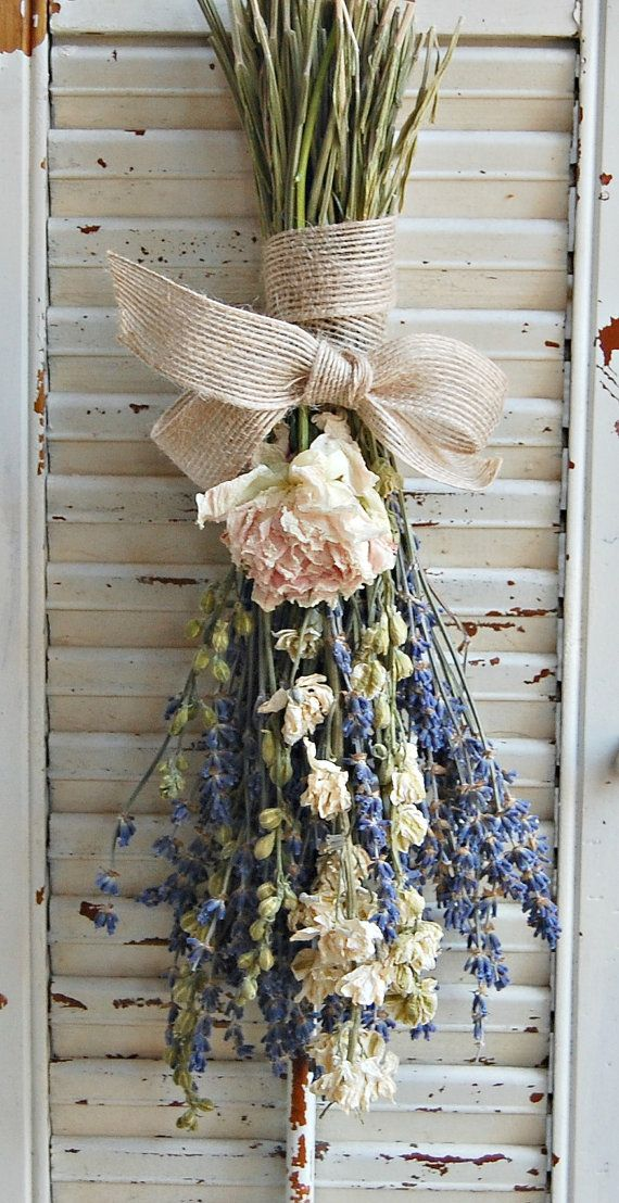 Dried Lavender Bouquet with Dried Larkspur and by roseflower48