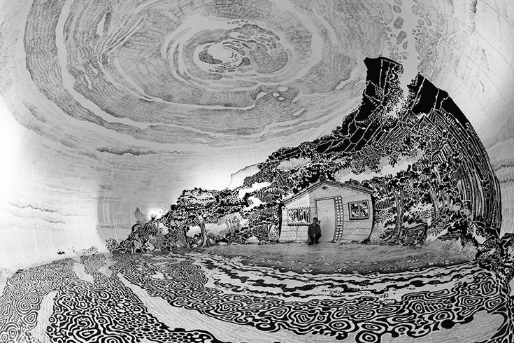 oscar oiwa draws a panoramic japanese landscape inside a giant inflated dome