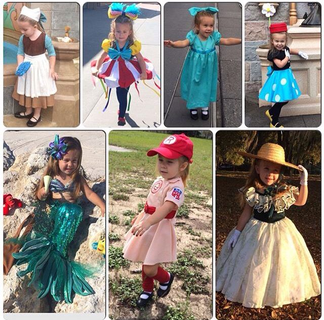 Top row left to right: Cinderella Rags, ChaCha Bingo from FOF, Wendy Darling, Classic Vintage Minnie Mouse. Bottom row left to right: Mermaid Ariel, Rockford Peach, Scarlett O'Hara from Gone With the Wind