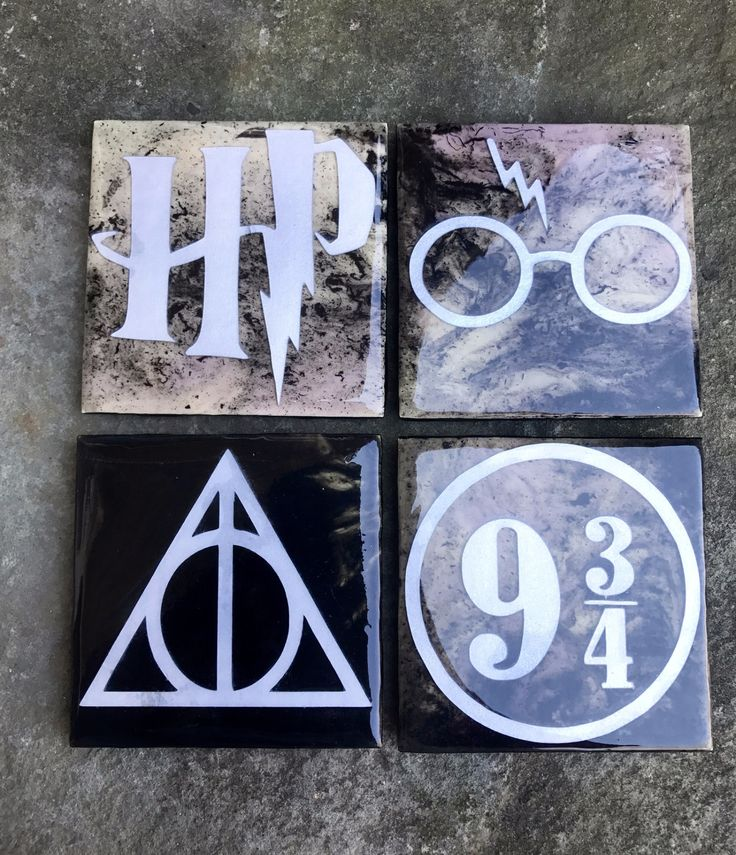 These are handmade, one of a kind Harry Potter coasters. The abstract background on the coasters was painted using yellow, purple, and black acrylic paint and resin. An extra coating of resin was adde