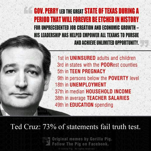 Ted Cruz's idea of what opportunity is, uninsured, poor, and uneducated. The Koch Brothers bought themselves another winner.