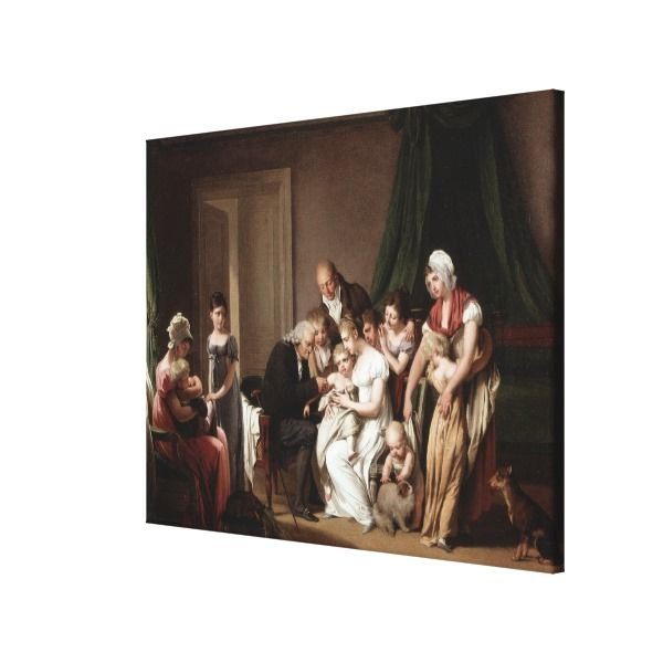 Family Doctor Vaccinating Child Old Oil Painting Canvas Print
