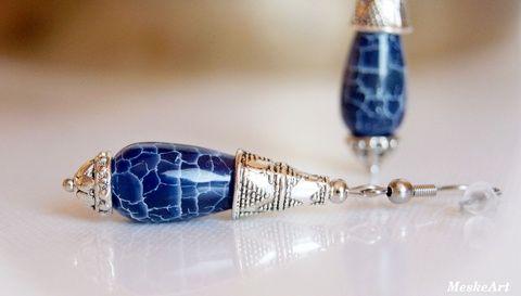 Kék achát csepp fülbevaló, nikkelmentes (MeskeArt) - Blue Agate earring - Nausnice Achát #kekachatfulbevalo #blueagateearring #nausniceachat #achatekszer #agatejewellery