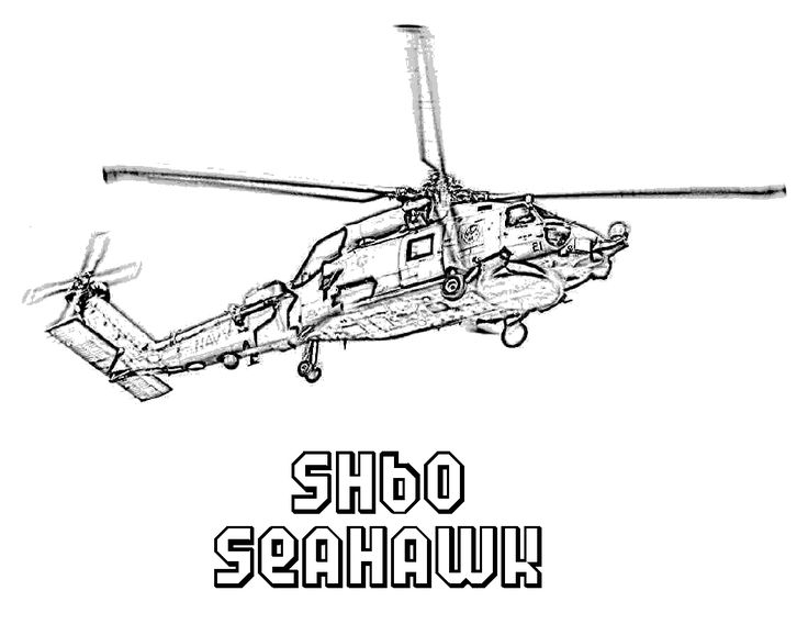 seahawk helicopters coloring picture for kids