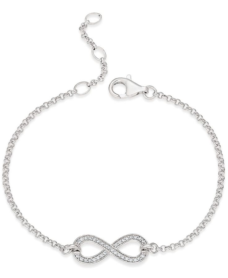 "Thomas Sabo's feminine bracelet features a pave crystal infinity symbol that drapes delicately around the wrist. Set in sterling silver. Approximate length: 6-1/2"". 