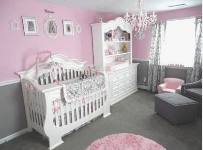 The Best DIY and Decor Place For You: Pretty Pink and Gray Princess Nursery Room for a Baby Girl