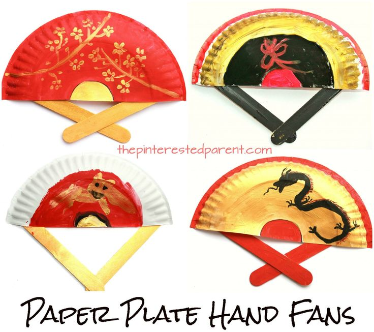 Painted Paper Plate Hand Fans. Great for Chinese New Year or Tet. Kid's & preschooler cultural arts and crafts project ideas