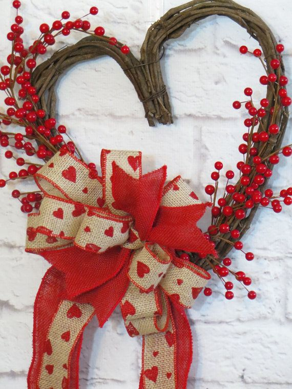 Grapevine Heart Red Berry Heart Valentine Wreath by Dazzlement