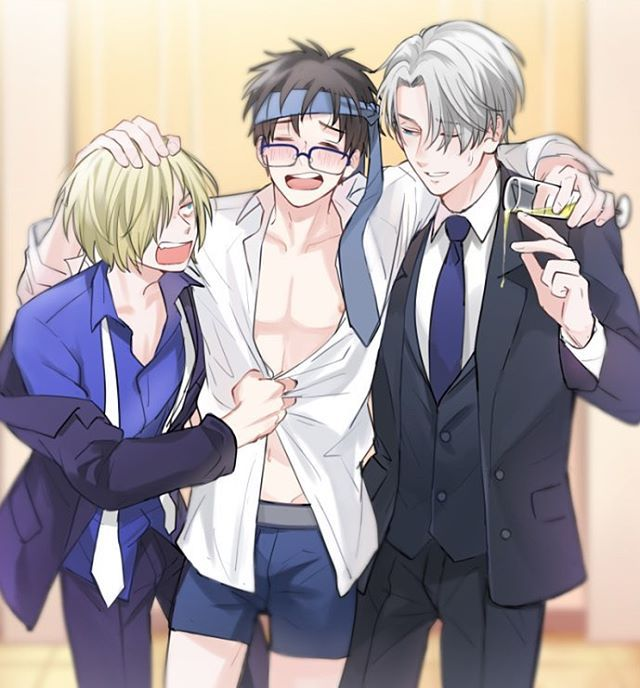 Yuri: *having the time of his life* Yurio: *trying to keep this idiot clothed* Viktor: *doesn't understand why, but finds the drunk Yuri adorable and therefore indulges him*
